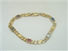 14 k Yellow Gold Multiple Gemstone Link Chain Bracelet