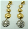 Ladies Two Tone Diamond Drop Down Hanging Earrings