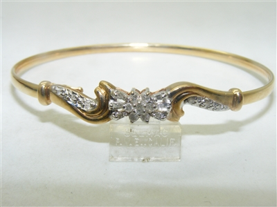 10k Yellow Gold Diamond Bangle Bracelet