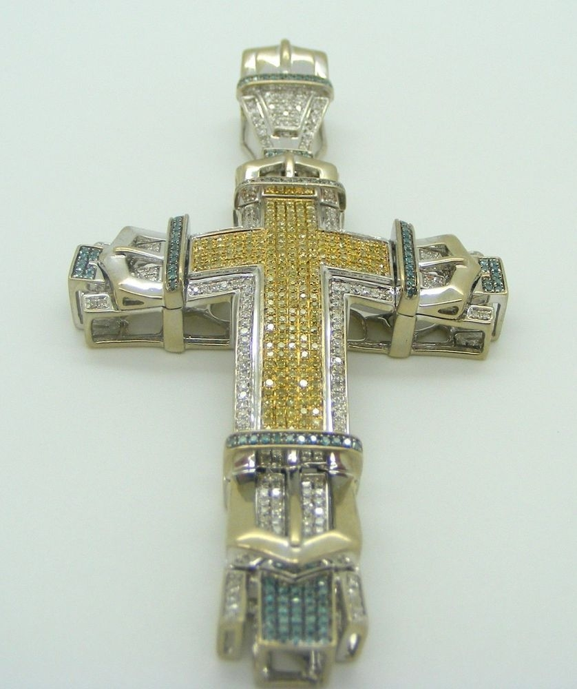 10k white gold cross pendant with yellow blue and white diamonds mozeypictures Image collections