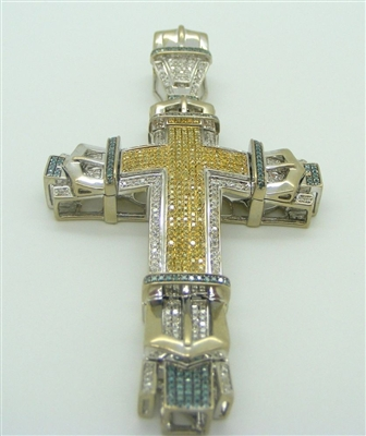 10K WHITE GOLD CROSS PENDANT WITH YELLOW BLUE AND WHITE DIAMONDS