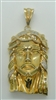 WHITE AND YELLOW DIAMOND JESUS HEAD. 14K YELLOW GOLD