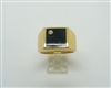 Men's 18 K Yellow Gold Onyx & Diamond Ring
