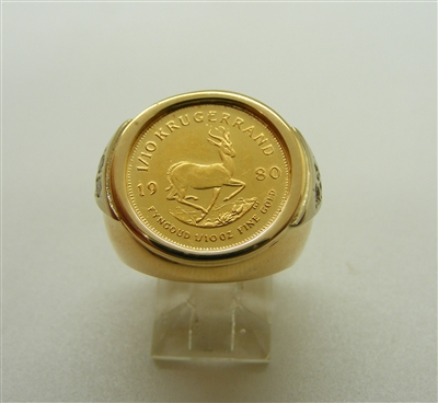 1/10 Ounce Fine Gold Coin Pinky Ring (14k)