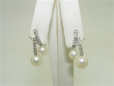 14k Diamond and Pearl Push back Earring