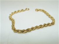 14k Yellow Gold Rope Chain Bracelete