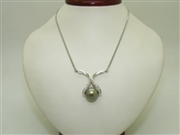 14k White Gold Black South Sea Pearl Necklace