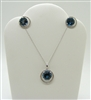 London Blue Topaz and Diamond Earring and Necklace Set