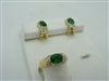 CZ FACETED SYNTHETIC,EMERALD RING AND FRENCH CLIP EARRINGS SET. 18K YELLOW GOLD