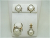 14k Yellow Gold  Fresh Water Button Pearl & Diamond Complete Set