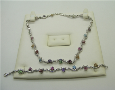 Multi Colored Flower Designed Diamond Bracelet & Necklace Set (18K)