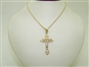 14k Yellow And White Gold Cross Necklace/Pendant
