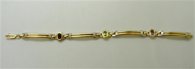 14 K Two Toned Multi Colored Stone Bracelet