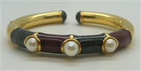 ENAMEL AND CULTURED PEARL BANGLE Bracelet