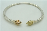 925 STERLING SILVER BANGLE WITH 10K SOLID YELLOW GOLD ENDS