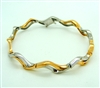 White & Pink Gold Zig Zag Bangle Bracelet