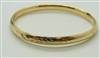 Young Ladys 14k Yellow Gold Bangle Bracelet (Greek Leaves Design)