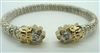 Alwand Vahand Silver & 14 K Gold Diamond Bangle Bracelet