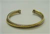 David Yurman 18 K Yellow Gold & 925 Sterling Silver Crossover Cuff Bracelet
