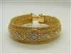 14 K Yellow Gold 1960s Vintage Designed Mesh Diamond Bracelet