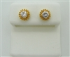 18K YELLOW GOLD DIAMOND STUD SCREW BACK EARRINGS.