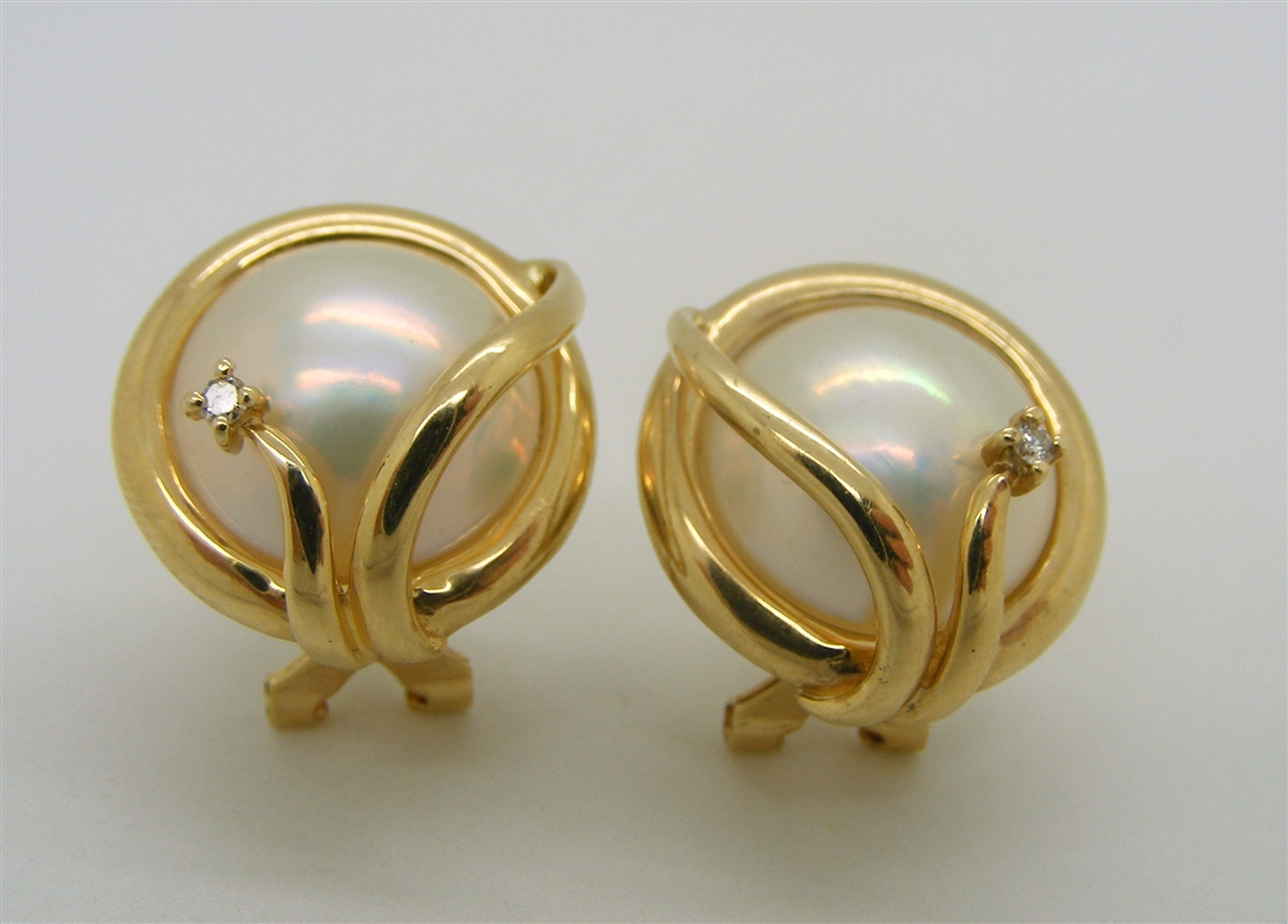 14 K Yellow Gold Mabel Pearl Diamond French Clip Back Earrings