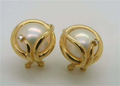 14 K Yellow Gold Mabel Pearl & Diamond French Clip Back Earrings.