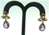 Vintage Ladies Amethyst & Pearl Push Back 1970s Hanging Earrings 14K YellowGold
