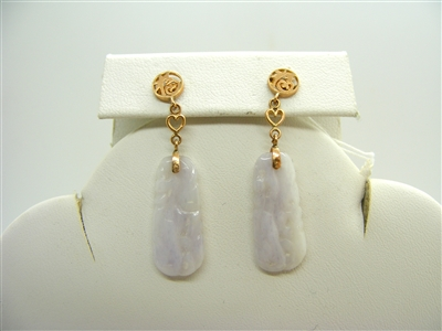 Natural Jade Hand Sculpted Hanging Earrings