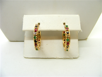 Multicolor Stone Hoop Earrings
