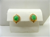 Jade Pear Shape Gold Earrings