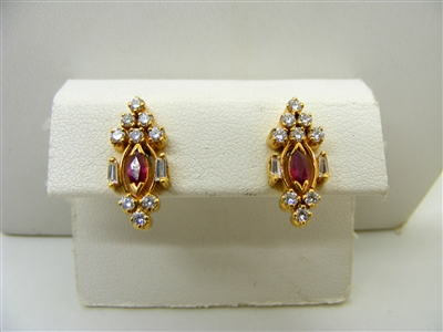 Marquise Shape Natural Ruby Earrings