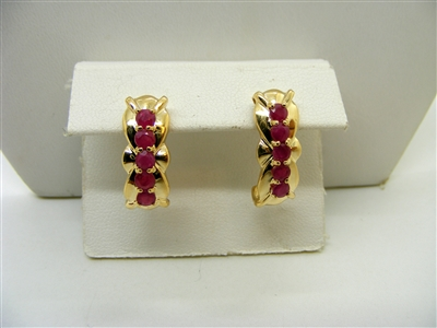 Round Natural Ruby Earrings