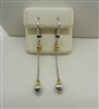 14 K Two Tone Ball Dangling Earrings