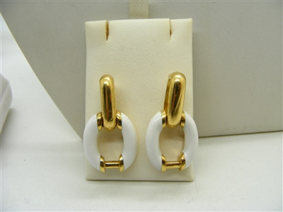 White Enamel Earrings