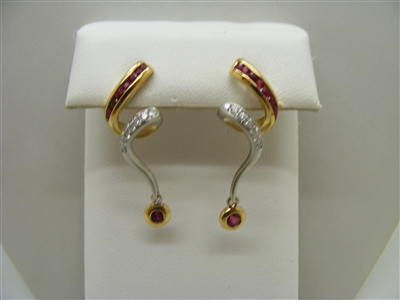 18 K Two tone Diamond and Natural Ruby Hanging Earrings