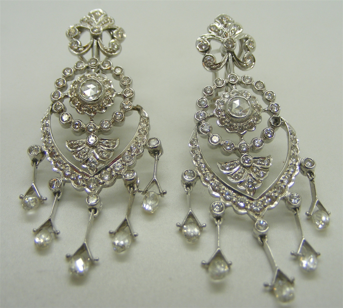 18k white gold diamond chandelier french clip earrings aloadofball Image collections