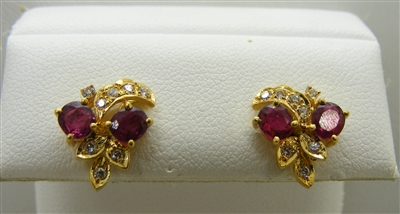 14 K Yellow Gold Diamond and Natural Ruby Earrings