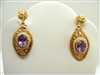 Vintage 1960 Oval Amethyst and Pearl 14K Gold Earrings