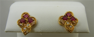 14 K Yellow Gold Diamond and Ruby Stud Earrings.