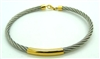 Yellow Gold & Stainless Steal Bangle Bracelet