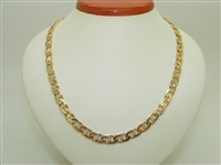 14k Yellow Gold Unisex Link Diamond Designer Chain