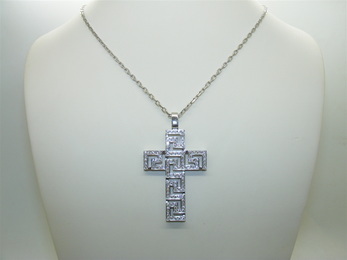 18 k white gold diamond versace pendant necklace versace cross pendant necklace mozeypictures Image collections