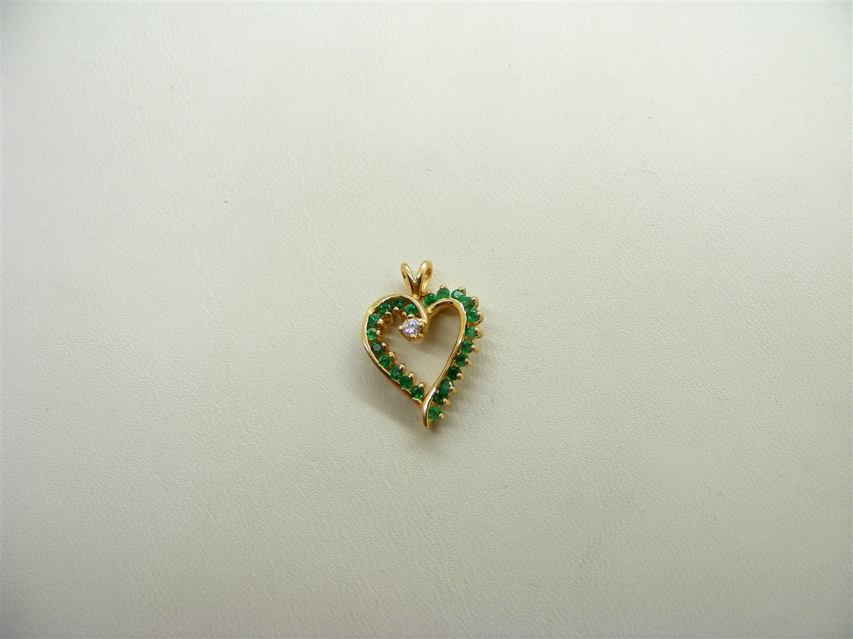 Emerald heart 14k yellow gold diamond pendant emerald heart pendant aloadofball Gallery