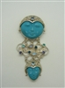 Multi-Colored Gemstone, With Face Carved Turquoise Stones (Pin/Pendant) 925