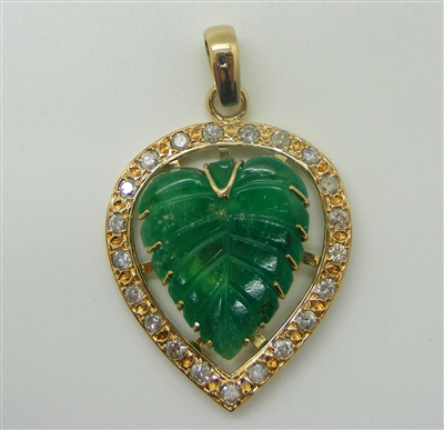 Leaf Like Carved Colombian Emerald and Diamond Pendant. (Rare)