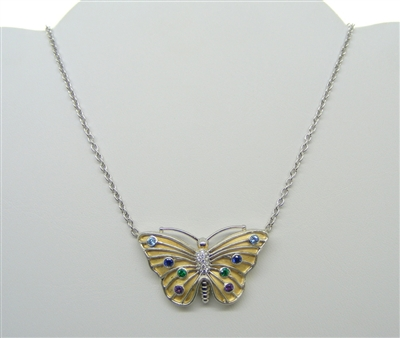 Platinum and 18 K Yellow Gold Butterfly Necklace (With Diamonds and Multi-Colored Gemstones)