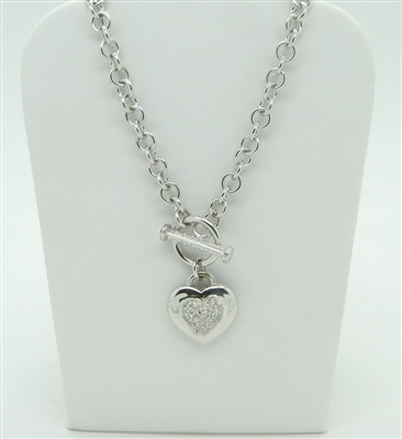 925 Sterling Silver Heart Toggle Necklace (Cuban Zircon Stones)