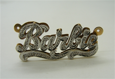 "14 K Two Tone Double Plated ""Barbie"" Diamond Name Plate"