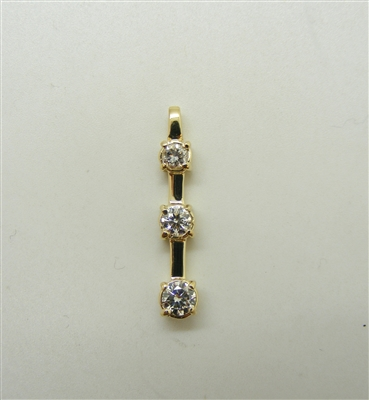 14 K Yellow Gold 3 Stone Slide Pendant